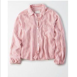 Red Striped Button Up Collar Shirt